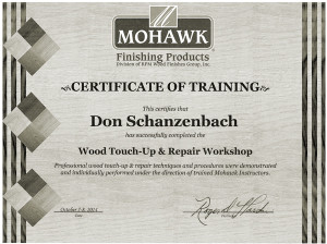 Don Schanzenbach, Professionally trained in wood finishing.